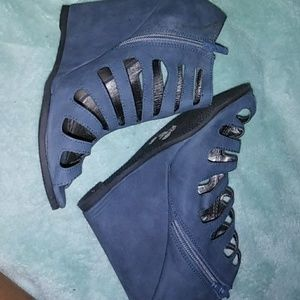 Blue suede wedges. ((Read Description))
